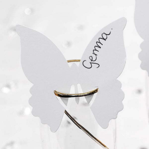 Elegant Butterfly Place Cards For On Glasses - White (10)